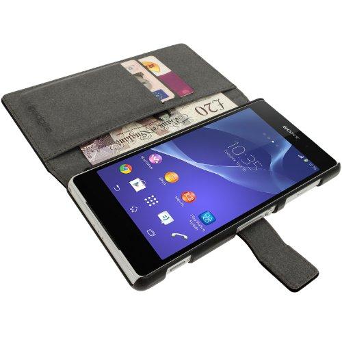 Faux-leder-mikrofaser-polsterung (iGadgitz u2817ECO Book Tasche für Sony Xperia Z2D6503mit Kreditkartenfächer + Displayschutzfolie-Schwarz)