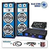 """DJ Blue Star set di casse """"Basskern USB"""" 2800 Watt Casse Amplificatore Microfoni"""