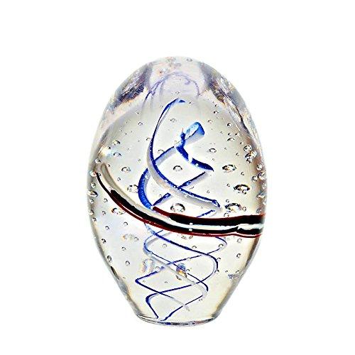 Glas Ei Deko EiBriefbeschwerer Ei Kunstfrucht Osterei Pavel Stehend 12 cm Weiss Blau Schwarz Rot Transparent Glas