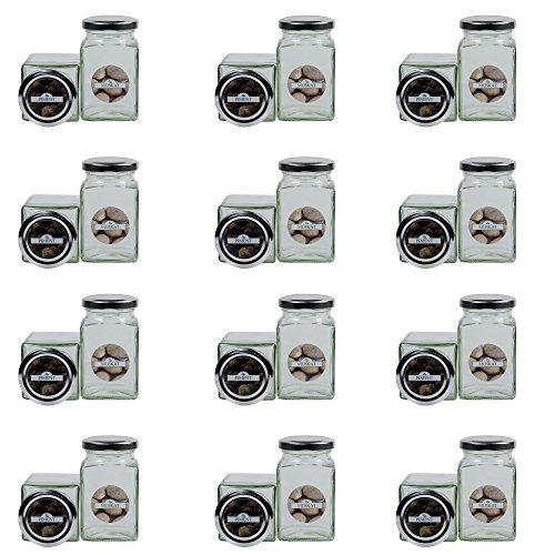Viva-Haushaltswaren - 24 eckige Gewürzgläser 260 ml inkl. 24 Gewürzetiketten / Deckelfarbe - Silber