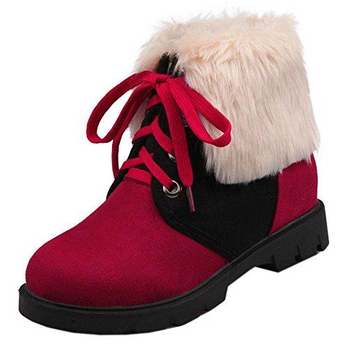 TAOFFEN Stivali Donna Stringate Height Increasing Red