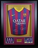 Messi, Neymar & Suarez Barcelona SIGNED Shirt, 3D-Rahmen Display mit Echtheitszertifikat