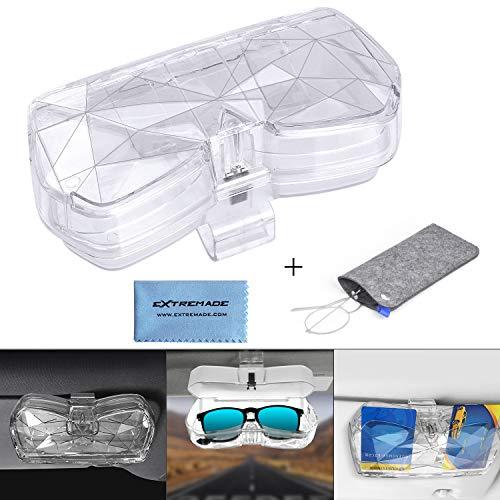 Extremade Brillenhalter für Auto Sonnenblende, Universal Acryl Auto Sonnenbrillen Brillen Etui Aufbewahrungsbox Organizer mit Kartenhalter +Brillenaufbewahrungstasche, Auto Brillenhalter - Transparent
