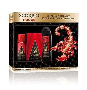 Scorpio SCORPIO - Coffret 3 produits - Rouge - Eau de toilette flacon 75ml, Gel Douche 250ml & Dédodorant atomiseur 150ml