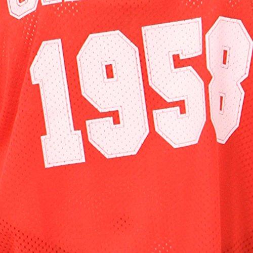 Neuer Frauen-Baseball-Drucken-Streifen-Air Tech Varsity sackartige Oberteile 36-54 1958 Chicago Red