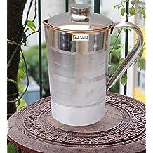 India Cobre Prisha Pitcher Jarra Agua Acero Inoxidable utensilios Fuera de Ayurveda capacidad cicatrizante 1,6 L