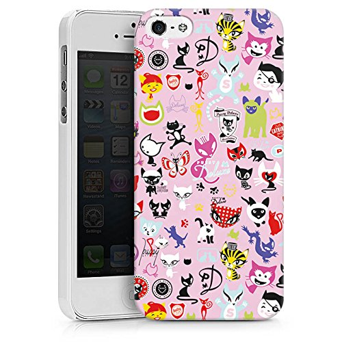 Apple iPhone X Silikon Hülle Case Schutzhülle Comic Katzen Muster Hard Case weiß