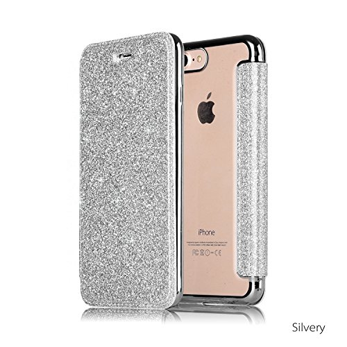 Leweiany iPhone 7/8Lederhülle Silber, Glänzend Glitzer Bling Leder Wallet Flip Brieftasche im Bookstyle Durchsichtig Weiche Silikon Schutzhülle Plating TPU Rahmen Hülle für Apple iPhone 7/8 4.7 Zoll
