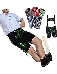 Trachten Trachtenhosen Anzug Lederhosen Hosen 1x Hemden Schuhe Träger Socken Echtes Leder Schwarz Herren