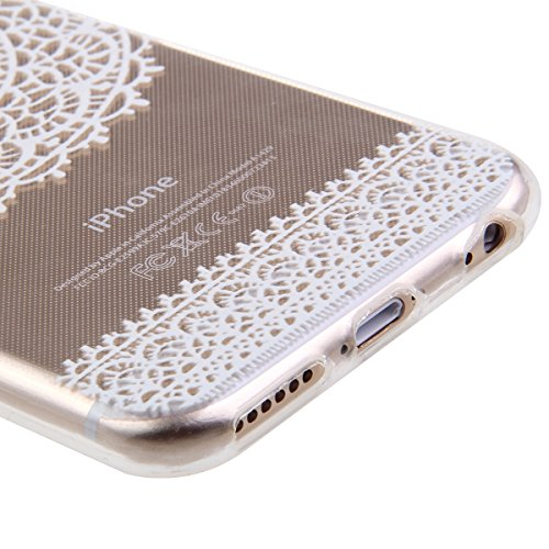 iPhone 6S Hülle, iPhone 6 Hülle, iPhone 6 / 6S Silikon Crystal Case Hülle mit Malerei Muster, SainCat Weiche Transparent Silikon Schutzhülle Hülle Gel Bumper Soft TPU Case Backcase Weiches Crystal Cle Lace Campanula
