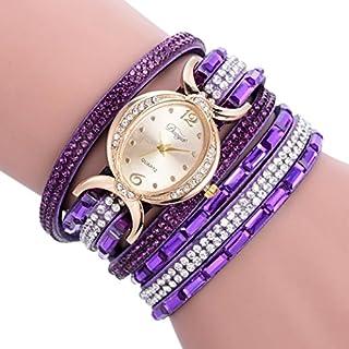 Fashion Table,AutumnFall Women Ladies Bracelet Diamond Circle Quartz Wrist Watch (Purple)