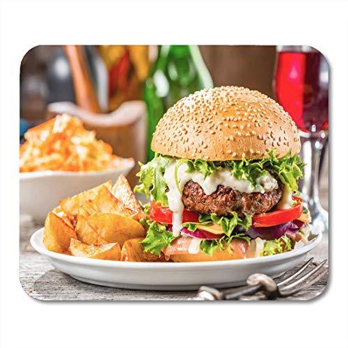 Deglogse Gaming-Mauspad-Matte, Colorful Hamburger American Burger Fried Potatoes White Plate Orange Mouse Pad, Desktop Computers mats American White Plate