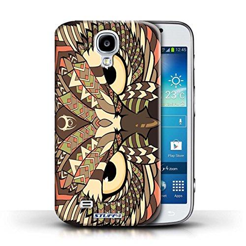 Coque en plastique pour Samsung Galaxy S4/SIV Collection Motif Animaux Aztec - Tigre-Mono Hibou-Sépia