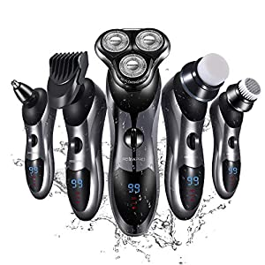 Electric Shaver Razor for Men 5 in 1 Rotary Shavers Beard Trimmer Nose Hair Trimmer Wet&Dry Electric Shavers Men Waterproof USB Fast Charging