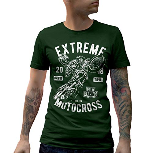 Dirt Track Racing T-shirts (A651MCNTFG Herren T-Shirt Extreme Motocross Motorcycles Dirt Track Caferacer Race Racing Custom Engine Speed Ride Fast Or Die Last Cafe(Small,Forest Green))