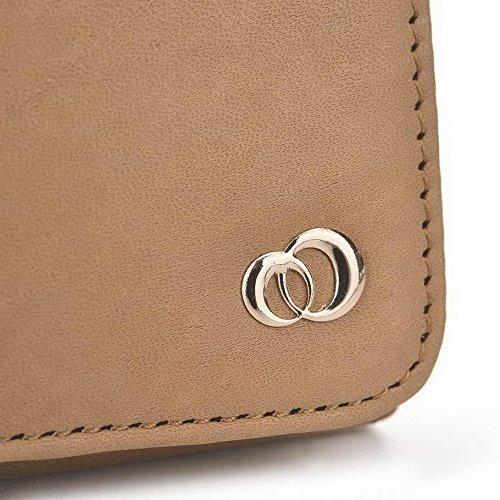 Kroo Pochette Housse Téléphone Portable en cuir véritable pour Huawei Ascend Y330 Marron - peau Marron - marron