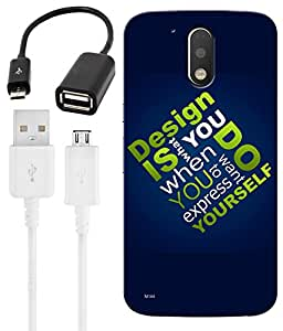 Indiashopers Combo of Design HD UV Printed Mobile Back Cover, Charging Cable and OTG Cable For Moto G4 Plus