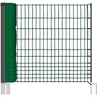 Rete pollame VOSS.farming farmNET per recinzioni non elettrificabili, 112 cm di altezza e 50 m di lunghezza, a punta doppia, dotata di 16 pali, colore verde