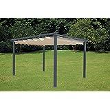 LuxuryGarden- Pérgola de aluminio con toldo retráctil de 300x 400 cm para exterior o jardín