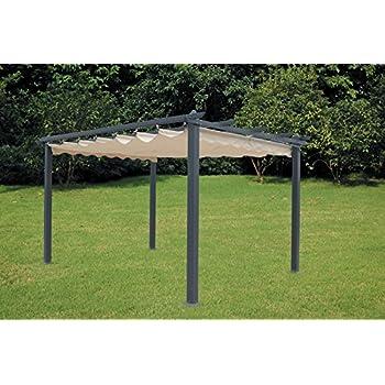 luxurygarden pavillon pergola aus aluminium mit einziehbarem dach 300 x 400 cm f r. Black Bedroom Furniture Sets. Home Design Ideas
