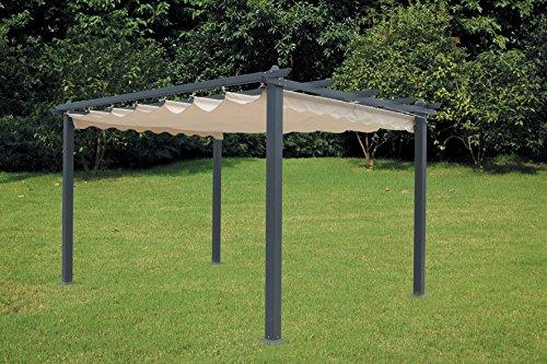 LuxurygardenPavillon, Pergola aus Aluminium mit einziehbarem Dach, 300x 400cm, für den Garten...