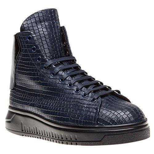 Emporio Armani High Top Homme Baskets Mode Bleu Bleu