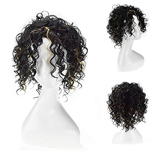 DOUWAN Afro-Haar, Kurz Bob Perücke Schwarz Besonderheiten Gelb Gelockt Synthetisches Haar for Frauen Cosplay Partei-Kleid (Farbe : M1B/27#)