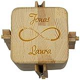 Beziehungskiste (Unendlichkeitssymbol) – zu zweit öffnen – gravierte Verpackung für Geldgeschenke für das Brautpaar – Geld verpacken für Hochzeitsgeschenke mit Gravur – Trickkiste personalisiert mit Namen