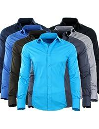 Redbridge by CIPO & BAXX Slim Fit Hemd Polo Shirt Kentkragen Polo Verschiedene Farben (S, Navy)