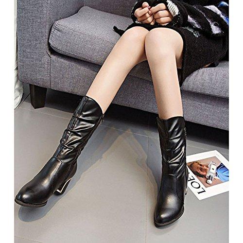 tallone HSXZ Inverno Autunno punta Nero Chunky Stivali Mid moda Comfort scarponi pu Scarpe donna Calf per Stivali Casual Black tonda rTCPwvrq