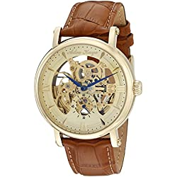 Adee Kaye Men's 'Mecha Collection' Stainless Steel and Leather Automatic Watch, Color:Brown (Model: AK8895-MG)