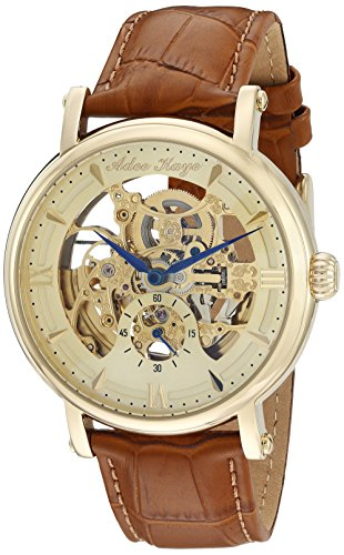 Adee Kaye Men's 'Mecha Collection' Stainless Steel and Leather Automatic Watch, Color Brown (Model: AK8895-MG)