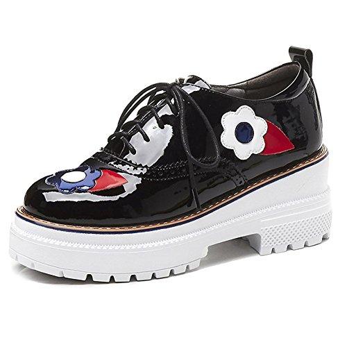 Chaussures à Plateformes Femme WSXY-A0609 Creepers Baskets Fleurs Délicates Double Semelles,KJJDE Black