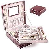 BalladHome Caja Joyero con Espejo Caja para Joyas joyero Caja de Joyas Organizador de Joyas, Caja de Relojes (Patrón de cocodrilo – Púrpura)