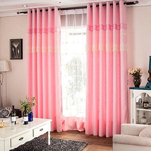 NACHEN Fenster Vorhang verdicken Baumwolle und Leinen Schlafzimmer Wohnzimmer Vorhänge Hälfte Blackout Vorhänge, 2 Stück, pink, W200*H270CM -