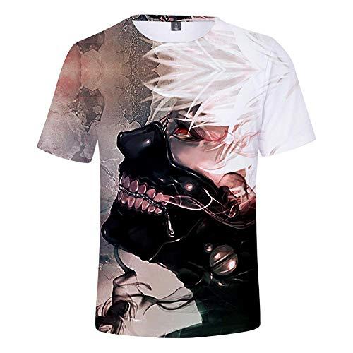 Ywfzzxs T-Shirt 3D Tops Mode-T-Shirts Unterhemden Kurzarm Unisex Neuheit Kostüm HD Anime Druck Tokyo Ghoul XL (Ghoul Kostüm Jungen)