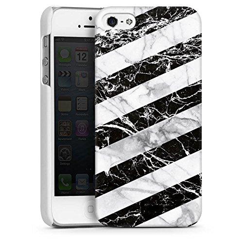 Apple iPhone 5 Housse Outdoor Étui militaire Coque Bandes Noir et blanc CasDur blanc