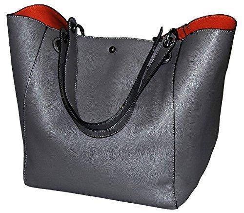 SQLP Handtaschen Damen Leder Grau Große Kapazität Handtasche Europäische stil Schultertaschen Umhängetasche Shopper Tasche Henkeltasche Beuteltasche Weich Damentasche Schultasche (Handtaschen Leder Grau)