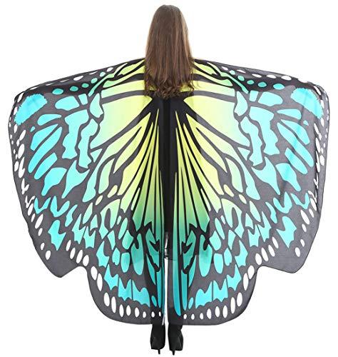 Feoya Damen Herren Schmetterling Kostüm Erwachsene Poncho Schönes Accessoire für Festivals Farbe - Herren Elf Kostüm Muster