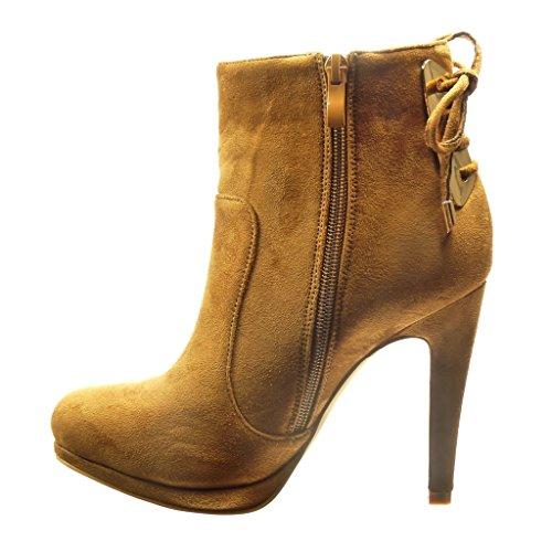 Angkorly - damen Schuhe Stiefeletten - Low boots - Sexy - Knoten - metallisch Stiletto high heel 11 CM Camel