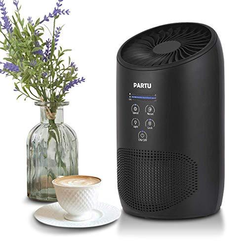 PARTU Luftreiniger Air Purifier HEPA mit Duft-Schwamm 3-Stufen Filterung Luftreiniger filter geeignet für Allergiker 100% Luftreiniger Ohne Ozon Filtern 99,97% Allergie Staub Pollen -