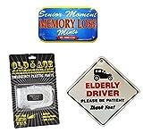 3 PACK BUNDLE - NOVELTY ELDERLY DRIVER CAR WINDOW SIGN +...