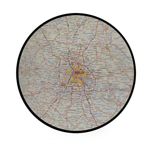 MONTOJ Berlin Teppich, rund, rutschfest, für Wohnzimmer, Schlafzimmer