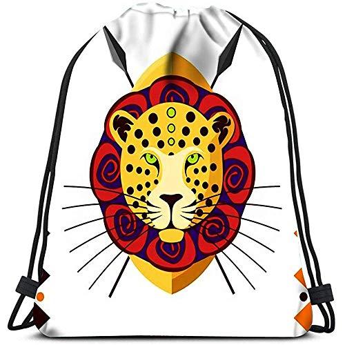 Bolsas De Cuerdas,Leopardo Africano África Animal En Color Mochilas De Hombro Cómodas para Adultos Al Aire Libre Gimnasio