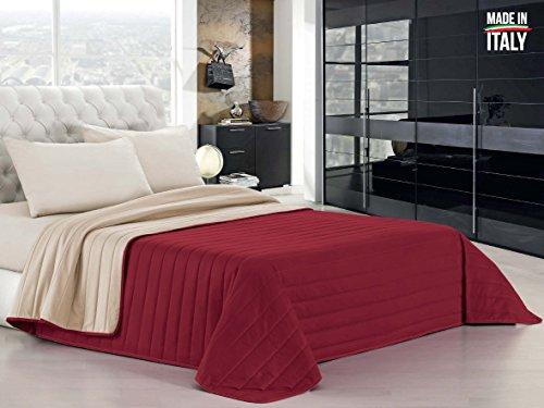 Italian Summer Bed Linen Couvre-lit matelassé en uni réversible, Microfibre A una Piazza e Mezza (220 x 270 cm) Bordeaux/Crème