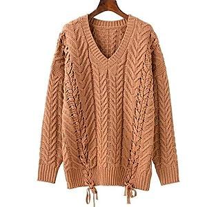 BaiChunYunYi Damen Standard Pullover-Ausgehen Lässig/Alltäglich Street Schick Solide V-Ausschnitt Langarm Baumwolle Acryl Herbst Mittel Mikro-elastisch