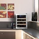 Klarstein Reserva 12 Uno • Weinkühlschrank • Getränkekühlschrank • 33 Liter • 9 Flaschen • 3 Holzeinschübe • doppelt isolierte Glastür • LED-Innenraumbeleuchtung • niedriges Betriebsgeräusch • LCD-Display mit Temperaturanzeige • schwarz-silber - 7