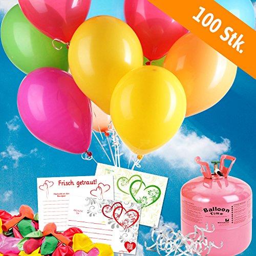 (100 bunte HELIUM - LUFTBALLONS mit Ballonflugkarten - Komplett-Set aus Helium-Einwegflasche, Hochzeitsballons und Flugkarten - Gas Luftballons für bis zu 100 Hochzeitsgäste mit Flugkarten)