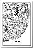 Panorama® Poster Karte von Lissabon 50 x 70 cm | Gedruckt