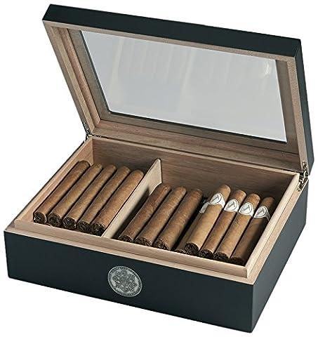 Egoist JK00177 Cave à cigares Humidor Humidificateur avec hygromètre - 25 cigares (Noir)